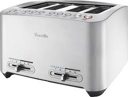 breville smart toaster 4 slice wide slot toaster silver bta840xl