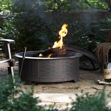 Firepit Base Ember 29 In Brushed Brass Wicker Base Design Pit With
