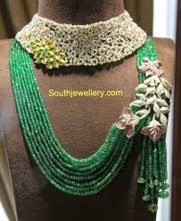 beaded necklace jewelry designs images Diamond choker and emerald beads necklace jewellery designs jpg