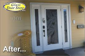 glass entry door inserts etched palm leafs on hurricane impact single door with sidelights