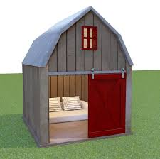 reclaimed barnwood dog house with gambrel roof and sliding loft