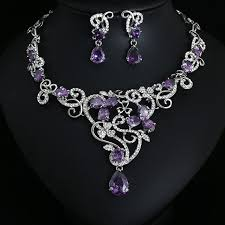 wedding necklace bridal images Party purple crystal jewelry bridal jewellery wedding jewelry sets jpg