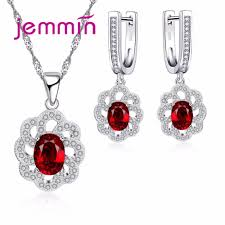 ruby necklace earrings images Jemmin fine 925 silver jewellery sets wedding ruby necklace jpg