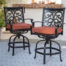 Outdoor Swivel Chair by Belham Living San Miguel Cast Aluminum 7 Piece Patio Dining Set