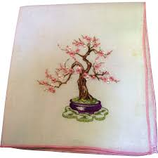 japanese bonsai tree design embroidered hankie pretty