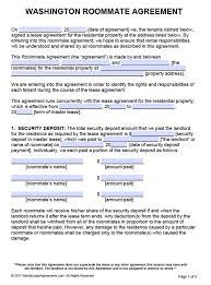 free washington roommate agreement template u2013 pdf u2013 word