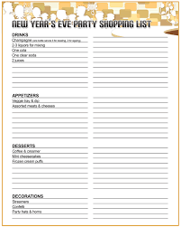 New Year Decoration List by Printable New Year U0027s Eve Party Shopping List