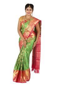 03kss7864514 parrot green with contrast pink pallu wedding saree
