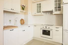 Empty Kitchen White Empty Rustic Kitchen In Antique Style Stock Photo Picture
