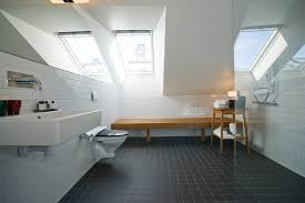 extraordinary modern attic bathroom design plan having glossy