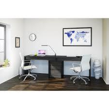 2 person desks nexera sereni t 2 person desk with filing cabinet black