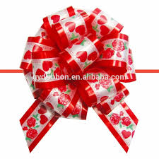 pull bow ribbon christmas decoration pull ribbon bow with printing fancy bow egg