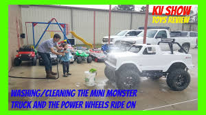 monster trucks on youtube videos washing and cleaning the power wheels ride on toys and mini