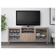 bestå tv bench lappviken sindvik black brown clear glass drawer