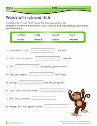 digraphs th and tch worksheet education com
