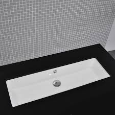 Double Faucet Double Vanity Trough Sink Undermount Washbasin Undermount