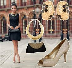 what shoes to wear with a black and gold dress style guru