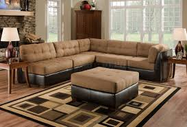 Faux Leather Sectional Sofa Camel Fabric Sectional Sofa With Brown Faux Leather Base