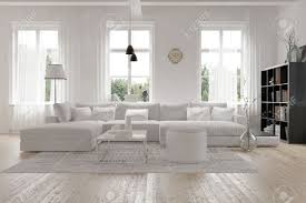 modern spacious lounge or living room interior with monochromatic