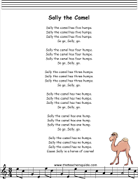 sally the camel lyrics printout children u0027s songs pinterest