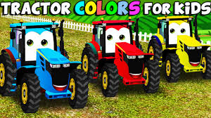 learn colors tractor kids u0026 color garage animation