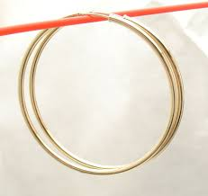 endless hoop earrings 2mm x 50mm 2 large plain shiny endless hoop earrings real 14k