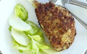 baked pork schnitzel with pickled apple and celery salad recipe