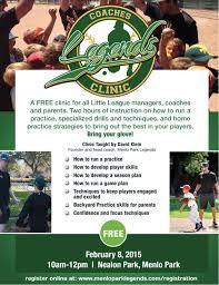 Park Flyers Backyard Flyers by Little League Support Legends Bay Area Baseball Camps