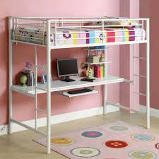 kids room chic white painted iron loft bed with desk decor kids