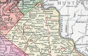 bucks county map bucks county pennsylvania 1911 map by rand mcnally doylestown