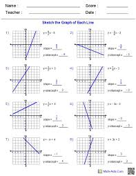 slope of a line worksheets graphing slope intercept form worksheets math aids