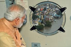 image of pib tweets photoshopped image of pm narendra modi surveying flood