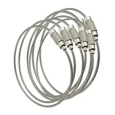 wire key rings images 100pcs stainless steel screw locking wire keychain cable in key jpg