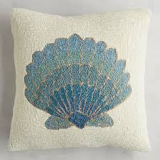 Pier One Peacock Pillow by All Over Beaded Fan Shell Pillow Fans All And 1