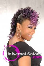 universal black hairstyles pictures apryl mcabee s purple hawk mohawk updo hairstyle