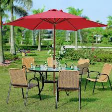 8 Ft Patio Umbrella 8ft 6 Ribs Patio Wood Umbrella Wooden Pole Outdoor Garden Pool