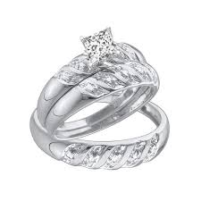 his and hers wedding rings cheap 1 carat trio wedding rings set with his and rings jewelocean
