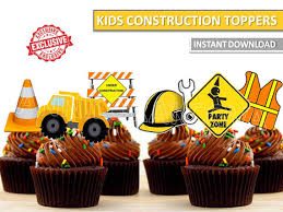 construction cake toppers construction cupcake toppers construction printables