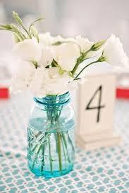 Ball Jar Centerpieces by Blue Mason Jars And Beach Wedding Centerpieces Beautiful Wedding