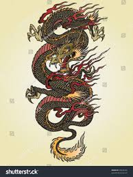 full color asian dragon tattoo illustration stock vector 90936416