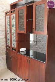 Glass Partition Between Living Room And Kitchen Crockery Unit Plus Puja Made In Veneer Also Acts As Partition