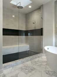 great black accent tile wall and brown pattern draw curtain bathub