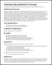 cv format for veterinary doctor resume resume exles for receptionist
