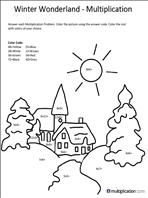 free christmas multiplication coloring worksheets multiplication com