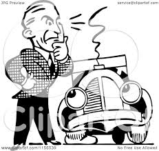 wrecked car clipart clipart of a black and white retro man and car with a flat tire