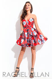 rachel allan 4142 short floral print dress french novelty