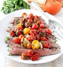 italian flank steak with roasted cherry tomatoes