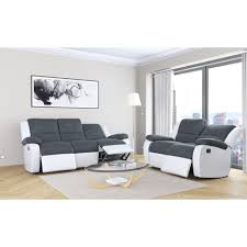 canapé relax 2 places tissu pack promo ensemble canapés 3 2 places relax tissu simili helene