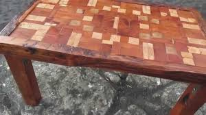 unique reclaimed tsunami wood mosaic coffee table handmade in