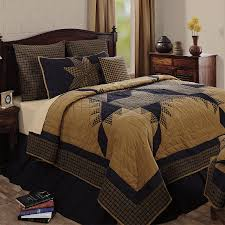 navy blue tan plaid fabric euro sham